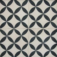 Black And White Art Deco Cement Tiles Trame Circulaire Pattern Makes Circles Four Pointed Stars