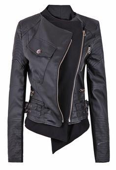 Black Zipper Embellished Faux Leather Biker Jacket EUR€36.97. Fun website www.sheinside.com