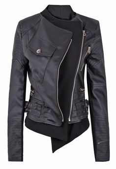 Black Zipper Embellished Faux Leather Biker Jacket EUR€36.97. Fun website www.sheinside.com