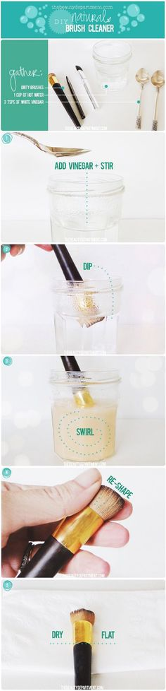 natural DIY brush cleaner - 12 Homemade DIY Makeup Brush Cleaners | GleamItUp