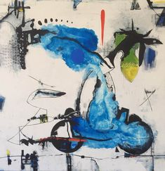 Geoffrey Wake - Scooter Creek With Fruit - Abstract Painting - Blue - Art