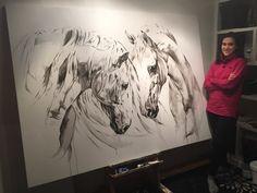Toiles passées - past paintings — Elise Genest Horse Drawings, Animal Drawings, Art Drawings, Painted Horses, Stippling Art, Horse Illustration, Horse Artwork, Equine Art, Watercolor Animals