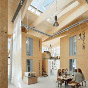 Wohnheim aus Holzwürfeln
