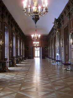 Corridor, Schloß Charlottenburg, Berlin, Germany. Spectacular summer of Sophia Charlotte the Queen Consort of Frederick 1 of Prussia. She had her own court here and her husband was only allowed to visit her by invitation!