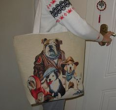Dogs Tote Bag, iPod Tote, Big Beach Bags, Tablet Red Hand Bag, Great Gift for Birthday.