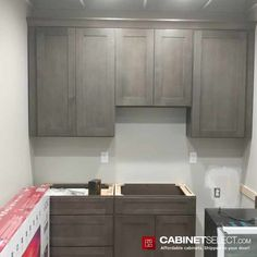 Buy Greystone Shaker Kitchen Cabinets - RTA Cabinets by CabinetSelect Types Of Cabinets, Dark Cabinets, Plywood Shelves, Plywood Boxes, Shoe Molding, Base Moulding, Veneer Door, Shaker Kitchen Cabinets