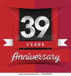 39 years anniversary logo with white ribbon isolated on red background, flat design style, Vector template elements for birthday celebration