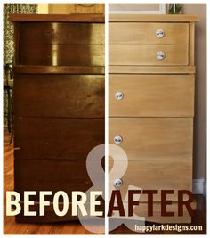 Yellow dresser makeover. Before and after furniture tutorial.