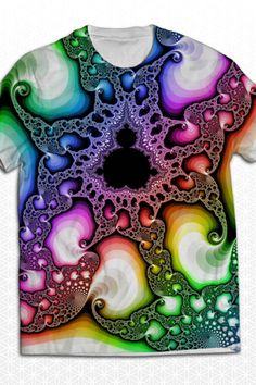 The fractal you imagine in full living color, printed with sublimation technique to insure bold color. Print covers front and back of t-shirt. NOTE >> Sacred G Collective is at Burning Man and orders