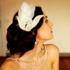 Fascinator Agathe Accessoire coiffure mariage rétro - Vintage bridal accessories - Sautoir et Poudrier