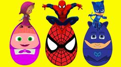 (New) Surprise Eggs Masha and PJ Masks , Spiderman , HULK , Monster Truck