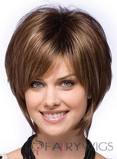 Special Cool Short Straight Brown Real Hair Capless Wigs