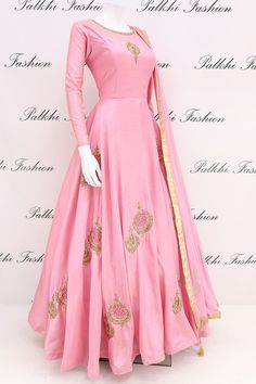 Light Pink Full Flair Soft Silk Outfit With Elegant Work From Palkhi Fashion Indian Fashion Dresses, Indian Gowns Dresses, Dress Indian Style, Indian Designer Outfits, Pakistani Dresses, Indian Outfits, Indian Attire, Long Dress Design, Stylish Dress Designs