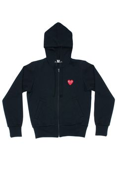 CDG PLAY A sleek CDG zip-up sweater with attention to detail. Zipper closure at the Center Front 2 single welt pockets at the front Drawstring at the front to a