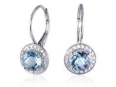 Blue Topaz And Diamond Drop Earrings Blue Topaz, Blue Sapphire, Sapphire And Diamond Earrings, Stone Rings, Round Diamonds, Jewerly, Jewelry Design, White Gold, Gemstones