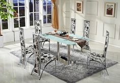 glass dining table and 6 chairs (5 colours)