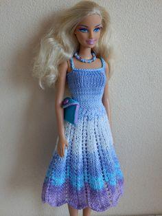 Ravelry: #0574 Lilac dress by stickatillbarbie.se