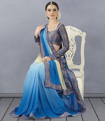 Shades Of Blue Color Georgette Party Wear Sarees : Nayanika Collection YF-31925