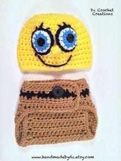 Spongebob Baby Set Crochet Photo Prop Baby by HandMadeByDz Crochet Photo  Props cf7a66fcc45a