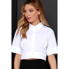 Simply Suave Ivory Button-Up Crop Top Cropped Tops, Crop Top Outfits, Basic Outfits, Casual Chic Outfits, Fashion Outfits, Minimale Kleidung, School Uniform Fashion, White Short Sleeve Tops, Minimal Outfit