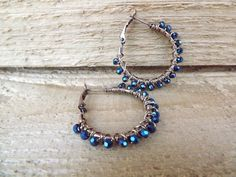 SALE 10 off Deep blue and copper wire wrapped hoops by Amayeli, $25.00
