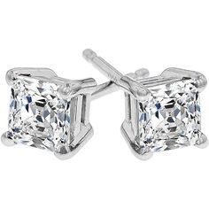 Northern Star Princess Cut Diamond Stud Earrings in 14kt White Gold... ($449) ❤ liked on Polyvore featuring jewelry, earrings, white gold earrings, stud earrings, stud earring set, star jewelry and white gold jewellery
