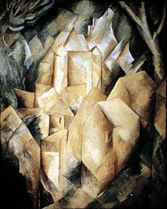A House at Estaque, 1908 | Georges Braque (1882 – 1963) | Paintings & Artwork Gallery in Chronological Order | http://totallyhistory.com/wp-content/uploads/2012/08/a-house-at-estaque-1908-by-Georges-Braque.jpg