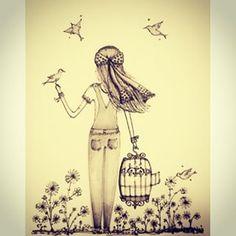 Permita-se sonhar, crie asas e faça o mais lindo voo.. Uma semana maravilhosa  #ilustração #draw #illustration #arte #desenho