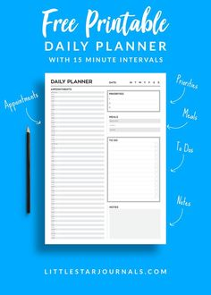 A free daily planner printable with 15 minute intervals to help you plan your day or appointments. Also includes a meal planner, to do list, priorities list and a notes section Printable Day Planner, Daily Printable, To Do Lists Printable, Free Planner, Happy Planner, Free Printables, Printable Calendars, Free Daily Planner Printables, Passion Planner