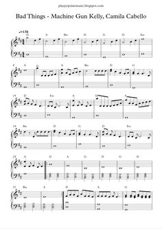 Free piano sheet music:  bad things - machine gun kelly, camila cabello.pdf   No one has to get it,  just you and me.                      ...