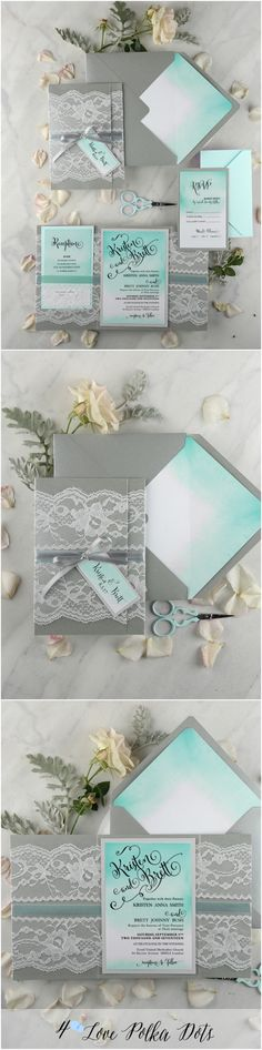 Tiffany blue & grey ombre lace wedding invitations with calligraphy printing #weddingideas #rustic #lace #romantic #blue #tiffanyblue #blue #calligrafy #watercolor #ombre