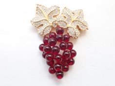 Vintage Signed SAL Swarovski grape bunch brooch red berries figural AB316 by MeyankeeGliterz on Etsy