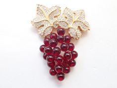 Vintage Signed SAL Swarovski grape bunch brooch red berries figural AB316 by MeyankeeGliterz on Etsy