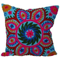 Decorative Suzani Needlework Pillow Cover (2770 RSD) ❤ liked on Polyvore featuring home, home decor, throw pillows, pillows and suzani throw pillows