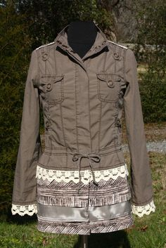 Chocolate & Lace Reconstructed MilitaryStyle Jacket  by UpTickChic, $35.00