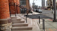 Aluminum hand-railing competed in downtown Columbus, Ohio✨ #suburbansteel #suburbansteelsupply #steel #aluminum #handrail #railing #powercoated #simple #design #exterior #custommade #style #urban #downtown #columbusohio #ornamental #hgtv