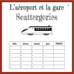 French Airport and Train Station Scattergories Game - L'Aéroport et la Gare This is a really fun activity to play with your students as they practice and b. French Teacher, French Class, Teaching French, Study French, Learn French, Teaching Materials, Teaching Resources, French Conversation, Train Activities