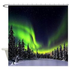 Northern Lights Alaska Canada Shower Curtain on CafePress.com