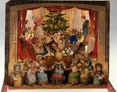 German Theater Bilderbuch, circa 1885, contains four theater scenes, each with a page of dialogue to go with it. This scene is Christmas Eve in a typical German house. Like the other scenes, it is set on a stage with a youthful orchestra in front. Its three-dimensional effect is particularly good.