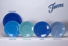 Different shades of blue fiestaware.