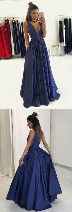 Navy Blue Deep V-neck Backless Pockets Sleeveless Pleats Long Prom Dress prom,prom dresses,prom dress,2017 prom dress,long prom dress