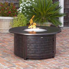 Fire Sense Perissa Round Propane Fire Pit Patio Table Woven Cast