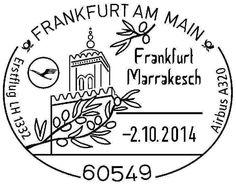 Deutschland 2014 Flugbestaetigungsstempel Frankfurt - Marrakesch 2. Oktober 2014