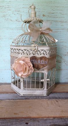 Wedding Birdcage Rustic Wedding Card Box Birdcage by LoRustique