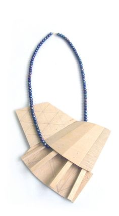 Julia Walter  Necklace 2009  Wood, Pearls, Gold 14ct  Pendant: 19 x 14 x 3 cm, necklace: 60 cm