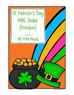 St. Patrick's Day ABC Order {freebie}