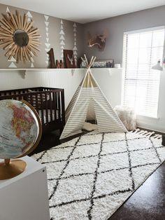 Boy Nursery Design Idea - Explorer, Adventure, Geometric, Aztec, Travel, Neutral