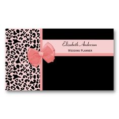 Modern personal trainer with girly pink ribbon business cards a modern and trendy peachy pink and black leopard print wedding planner business card with a reheart Images