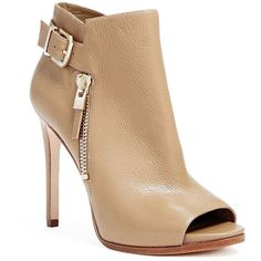 GUESS Tami Bootie ($248) ❤ liked on Polyvore featuring shoes, boots, ankle booties, nude, leather peep toe bootie, short boots, leather ankle boots, high heel leather boots and ankle boots