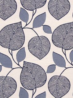 A modern upholstery fabric in an abstract leaf design of navy blue and dark ivory This mid-weight heavy duty fabric is suitable for all furniture